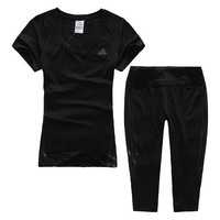 Trendsetter Adidas Woman Gym Sport Yoga Embroidery Top Cami Pants Trousers Set Two-Piece Sportswear
