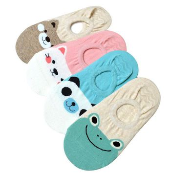 Women Small Animal Cartoon Pattern 5 Pack Socks