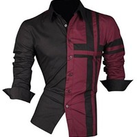 jeansian Men's Slim Fit Long Sleeves Casual Shirts Z014