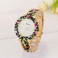 Floral Print Watch with Gift Box