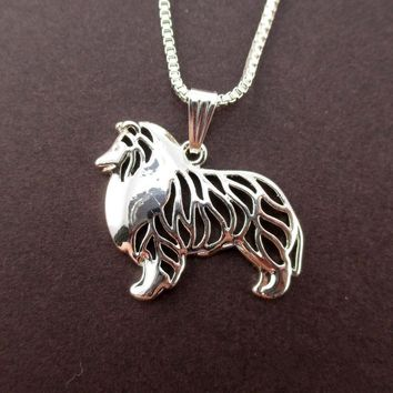 Daisies One Piece New Arrival Cute Love Puppy Shetland SheepDog Pendant Necklace Silver Animal Shape Statement Necklace