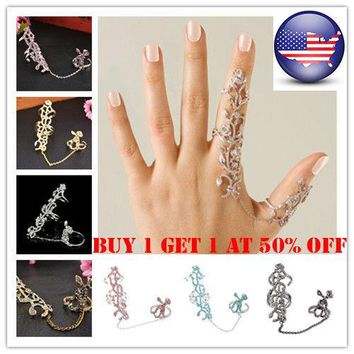 US Women Multiple Finger Stack Knuckle Band Crystal Ring Set Jewelry Gift 8Color