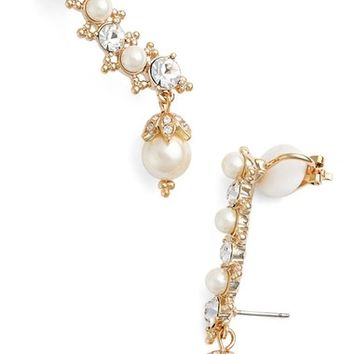 Marchesa Crystal & Faux Pearl Ear Crawlers | Nordstrom