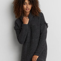 AEO Fringe Turtleneck Sweater, Gray