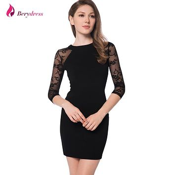 Berydress Elegant Womens Cocktail Party 3/4 Sleeve Lace Raglan Sleeve Sexy Nightclub Stretchy Sheath Black Bodycon Dress Short