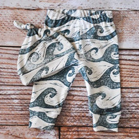 organic baby leggings, baby pants, baby leggings and hat, baby clothes, organic baby,waves, ocean, sea, baby boy, baby girl, baby gift