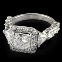 Three stone style 3.66 carat princess diamond wedding anniversary ring white gol