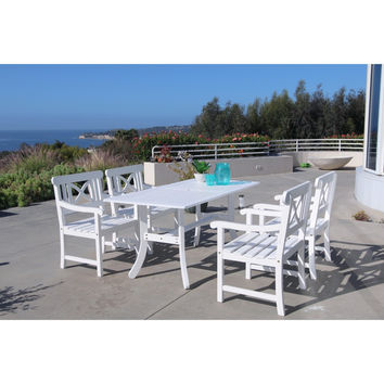 Bradley Rectangular and Curved Leg Table & Arm ChairOutdoor Wood Dining Set 8