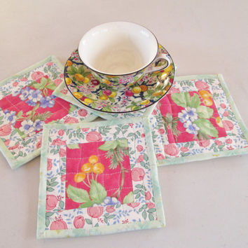 Quilted Fabric Coasters - Cottage Chic Floral - Set of 4