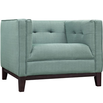 Modway Serve Armchair in Tufted Laguna Fabric on Walnut Finish Legs