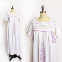 Vintage 1970s Dress - Mexican White Cotton Pastel Embroidered Crotchet Lace - Large