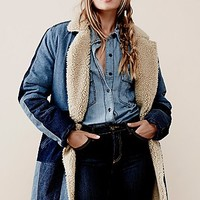 Free People Womens Sherpa Bonded Denim Coat
