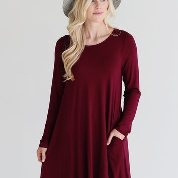 Burgundy DLMN Pocket Swing Dress