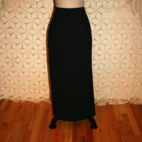 Vintage Black Maxi Skirt Long Pencil Skirt Long Black Skirt Minimalist Skirt Size 6 Skirt Size 8 Skirt Small Medium Vintage Womens Clothing