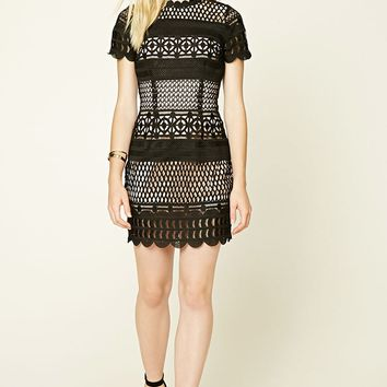 Contrast Crochet Overlay Dress