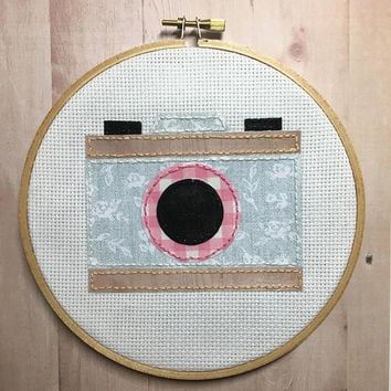 Camera Print - Embroidery Hoop