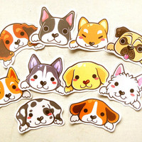 Cute Dog Stickers Set of 10: Kawaii Puppy Dog Stickers, Erin Condren Planner, Animal Stickers, Gift for Dog Lovers, Pug and Beagle Stickers