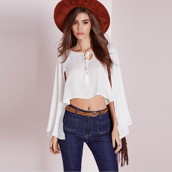 White Front Drawstring Long Sleeve Chiffon T-Shirt