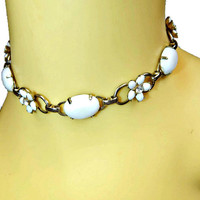 White Cabochon Choker Necklace with Flowers and Rhinestones