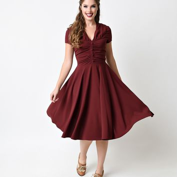 Hell Bunny 1950s Burgundy Crepe Cap Sleeved Rosina Swing Dress