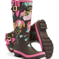 Brown Floral Welly print Womens Wellyprint | Joules US