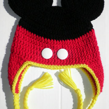 Custom crochet Mickey Mouse pants ears ear flap hat photo prop