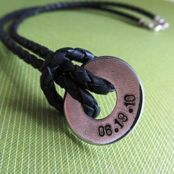Personalized Mens Leather and Washer Necklace Name by erinsmeltz