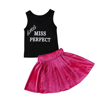 Toddler Baby Kids Girls Clothing Set Vest Tops T-Shirt Sleeveless Velvet Skirt 2pcs Outfits Set Clothes Girl 1-6T