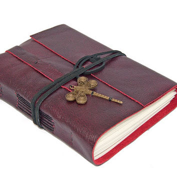 Deep Cherry Red Leather Journal with Dragonfly Bookmark