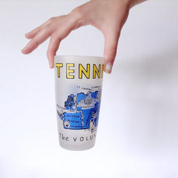 Tennessee Glass - 1950s Mid Century Frosted Drinking Glass - Vintage Barware Tumbler - Retro Blue Yellow Print Design - State Souvenir