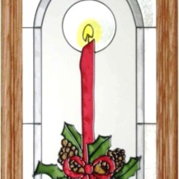 Christmas Candle Vertical Stained Art Glass Panel