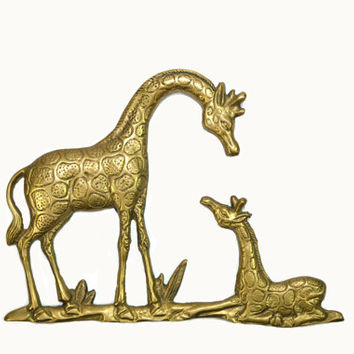 Brass Giraffe Wall Hanging Mother and Baby Giraffe Brass Pair of Giraffes Wall Decor Babies Nursery Nursery Wall Decor