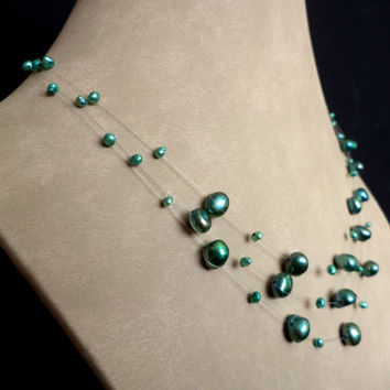 Sea Green Floating Pearl Necklace