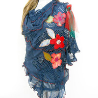 Blue flower applique Scarves, Big Blue Shawl, Flower Women's Shawl, Hippie Flower Scarf, Scarves flower applique, openwork fabric wrap