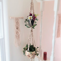 Double macrame plant hanger, 2 tier, PEARL, hanging planter, plant holder, pot holder, hanging basket, double planter, modern, hippie, large