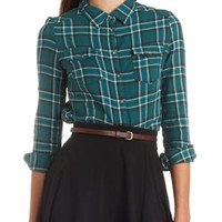 Long Sleeve Plaid Flannel Button-Up Top by Charlotte Russe