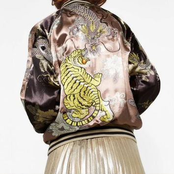 Woman 2016AW Woman Luxury Limited Edition Gold Oriental Dragon Tiger Heavy Embroidered Reversible Bomber Jacket With Pockets