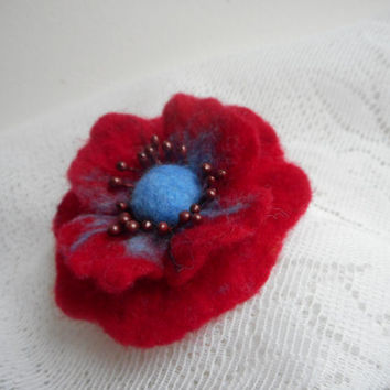Felt brooch,felt flower,red flower, red jewelry,wool,wet felt brooch flower,felt flower brooch,blue red brooch,poppy flower,blue accessories