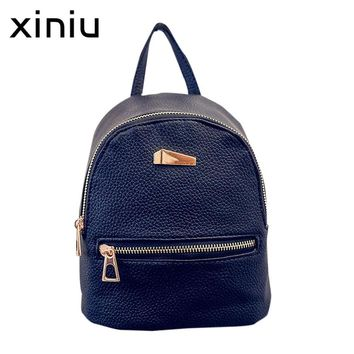 XINIU Backpack 2017 New Female bag Quality Leather Women Backpacks Sweet Girls Bow College Wind Travel Bags Rucksack