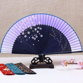 CREYLD1 Ink painting cherry Japanese Fan Chinese Traditional Craft Bamboo Folding Fan Handheld Portable Wedding Fans Personalized