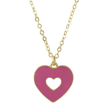 Hot Pink Enamel Double Sided Open Heart Pendant On Gold Plated Brass Chain Necklace