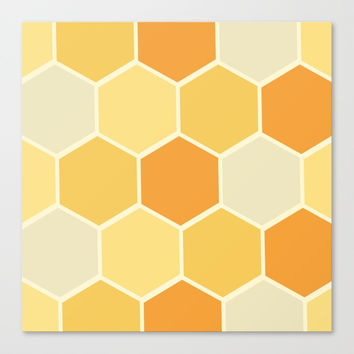 Yellow Honeycomb Canvas Print by spaceandlines