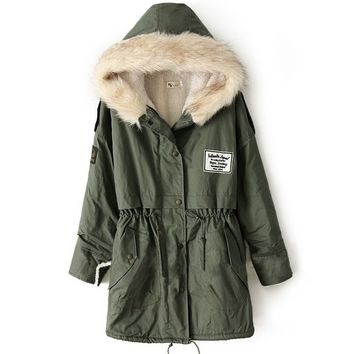 Faux Fur Hooded Shearling Lined Coat