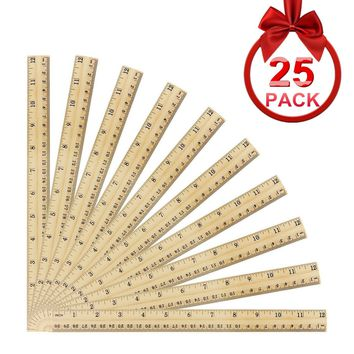 ONEST 25 Pack Wooden Rulers Student Rulers Wood School Rulers Measuring Ruler Office Rulers,2 Scale, 30 cm and 12 Inch