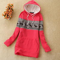 deer pattern hooded the thickened sweater