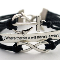 "Infinity Anchor ""where there's a will there's way"" Antique Silver Black Bracelet Cute Bracelet Gift Bracelet Blessing Bracelet"