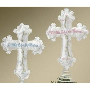 "Set Of 6 ""God Bless Baby's First Christmas"" Cross Tree Toppers #25963"