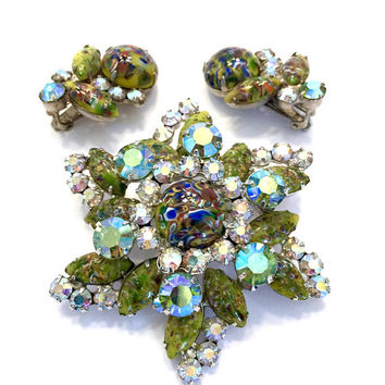 Juliana Yellow  Masquerade Harlequin Demi, Brooch and Earring Set, Multi-color Millefiori Cabs, AB Crystals, Silver Tone, Rare Vintage Set