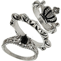 Crown Bead Ring Stack