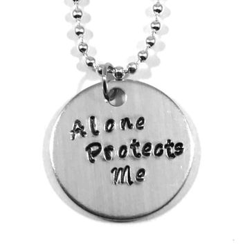 Sherlock Hand Stamped Alone Protects Me Aluminum Necklace